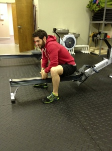Michael Kelley attempting to row backwards.