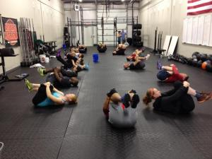 9:15 class warming up and showing their asses.