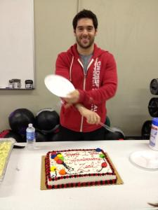 Michael Kelley getting ready to eat a LOT of cake.