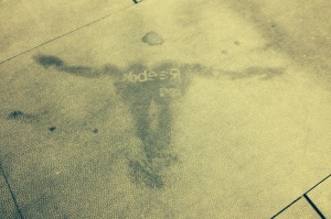 Post-WOD sweat angel.