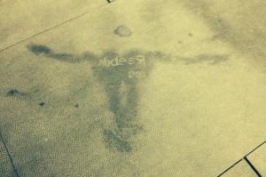 Post-WOD sweat angel.