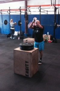 Preparing for box jump.